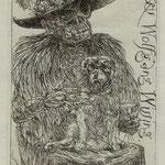 Ehrt. Rainer ,Kleinmachnow, Radierung, 2010. Auflage 50. Blatt 150 x  105 mm, Platte 115 x 80 mm. Tödin mit Mops auf dem Schoss.001