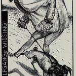 Hirsch, Karl-Georg Leipzg, Acrystich, 2009. Blatt 145 x 80 mm. Platte 120 x 70 mm. WW mit seinem Mops Darwin.001