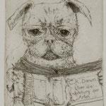 Aulmann, Eva, Florenz, Radierung 2009. Auflage 40. Blatt 220 x 180 mm, Platte 150 x 130 mm. Mops DARWIN. 001