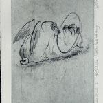Smajic, Susanne. Konstanz.Radierung. 2012. Platte 155 x 245 mm. Probedruck I. Kritische Selbstbetrachtung. 001