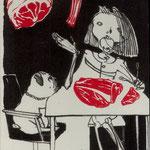 Triestram. Anya .Leipzig, Lithographie mit rotem Linolschnitt..2012, Auflage 45.Blatt ,Platte 195 x 120 mm. Tod fachsimpelt dem Darwin eins vom deutschen und französischem Schnitt. 001
