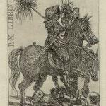 Ehrt. Rainer , Kleinmachnow, Radierung, 2010, Auflage 50. Blatt 150 x 105 mm. Platte 115 x 80 mm. Ritter, Tod und Mops nach A.  Dürer .001