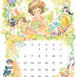アワーズ株式会社様 合同カレンダー(3月を担当いたしました。透明水彩/A3サイズ)