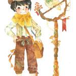 少年とオウム(透明水彩/A4サイズ)