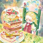 本が好きな子へのお誕生日(透明水彩/サムホールサイズ)