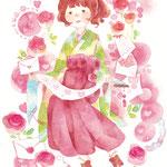 5月23日は恋文の日(透明水彩・水彩色鉛筆/A5サイズ)
