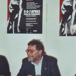 Mario in conferenza stampa durante il Diabolik Fest di Pordenone