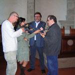 Mario Gomboli e Vincenzo Mollica, intervistati a Città di Castello durante la mostra dedicata a Diabolik