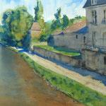 Un cours d'eau - Bourgogne - Aquarelle -55 x 38 cm