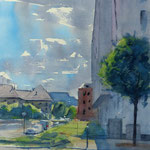 Strasbourg - Ciel couvert - Aquarelle 34 x 53 cm