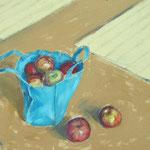 sac aux pommes - huile sur panneau