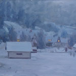 Neige - Forêt-noire - Huile sur papier - 41 x 27 cm