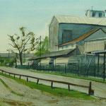 Port du Rhin - Aquarelle 54 x 33 cm