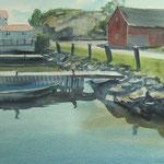 Hamburgsund - Suède - Aquarelle - 62 x 38 cm