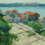 Paysage de Croatie - Aquarelle
