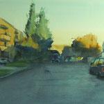 Fin de jour à Wurzburg - Allemagne - Aquarelle 62 x 38 cm
