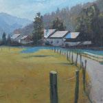 Paysage en Bavière - Huile sur panneau 41 x 27 cm