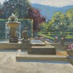 Un parc - Baden-Baden - huile sur papier - 41 x 27 cm