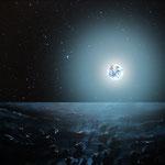 Blick vom Mond auf die voll beleuchtete Erde