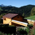 Rolldachhütte   Perspektive vom Garten  -  Richtung Südwesten