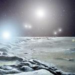 Castor - ein sechsfaches Sternsystem von einem gedachten Planeten aus