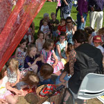 A very full Story Telling Tent!