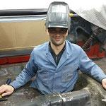Bodenblech Reparatur an Chevrolet Chevelle, Oldtimer Garage D. Bauhofer, Teufenthal