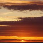 Zonsondergang op de ferry