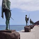 Guanches, de oude bewoners van Tenerife, werden vereeuwigd in de standbeelden van de 7 laatste leiders.
