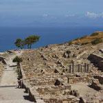 Opgegraven Dorische stad Kameiros. Deze antieke stad werd gesticht door de Dorïërs in de 8ste eeuw voor Christus. In 226 v Chr. werd de stad vernietigd en begraven door een aardbeving.