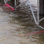 Pinker Widerschein unter der Wasseroberfläche