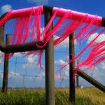 Der Wind spielt mit den neonpinkfarbenen Fäden am Geländer (Foto: J. Petersen)