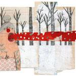 La mujer comefuegos con problemas de abastecimiento, 2013. 25,5 x 35 cm. Técnica mixta sobre papel.