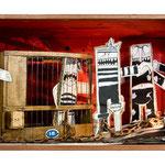 """PRISIONEROS. Técnica mixta, 26 x 60 x 25 cm, 2008. Realizada para la exposición de Espirelius """"Un ciento desde dentro"""" en la Sala Oberta de la Universidad de Valencia."""