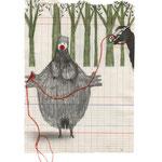 La huida de la gran mujer barbuda, 2013. 19,5 x 14 cm. Técnica mixta sobre papel.