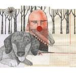 El gran domador de perros, 2013. 22 x 30, 5 cm. Técnica mixta sobre papel.
