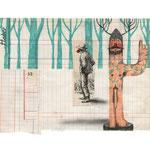 El poder del increíble hombre bala, 2013. 22 x 30,5 cm. Técnica mixta sobre papel.
