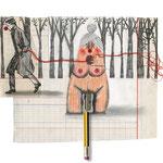 La insaciable mujer multiorgásmica dándose placer a sí misma, 2013. 20,5 x 23 cm. Técnica mixta sobre papel