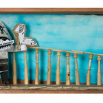 """CAPITÁN. Técnica mixta, 21 x 50 x 13 cm, 2008. Realizada para la exposición de Espirelius """"Un ciento desde dentro"""" en la Sala Oberta de la Universidad de Valencia."""
