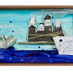 """TIBURONES A PUNTO DE COMER. Técnica mixta, 28 x 55 x 10 cm, 2008. Realizada para la exposición de Espirelius """"Un ciento desde dentro"""" en la Sala Oberta de la Universidad de Valencia."""