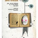 FERIA DEL LIBRO ANTIGUO Y DE OCASIÓN. Diseño gráfico Julio Antonio Blasco. Cliente: Asociación de Libreros de Lance de Valencia, 2013. Diseño cartel y mupi.