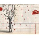 El increíble hombre imaginante en un entorno hostil, 2013. 21 x 33 cm. Técnica mixta sobre papel.
