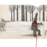 … matar al jefe de pista, 2013. 21 x 31 cm. Técnica mixta sobre papel.