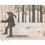 El fantástico hombre pescado, 2013. 22 x 30,5 cm. Técnica mixta sobre papel.