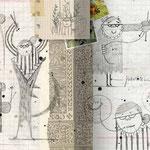 Bocetos de La ladrona de sellos, de Txabi Arnal y Julio Antonio Blasco, Sr. López. Edelvives.