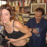 Reine Graves, Jorge Amat lors du tournage de la lecture Obsessions nocturnes.
