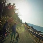 伊後の港の風景を楽しんだ後のこのゲキ坂・・・・ 誰も自転車にまたがらず・・笑
