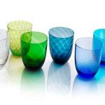 Gläser von Nason Moretti, verschiedene Farben und Dekore, Murano
