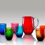 Gläser aus Murano, verschiedene Farben und Dekore