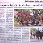 Der erste Zeitungsartikel zur Stafettenübergabe Niedersachsen an Sachsen-Anhalt